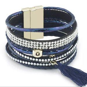 BOGO SALE Blue Leather Wrap Bracelet Tassel